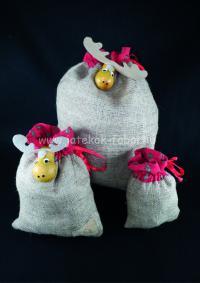 Karácsonyi zsák, kicsi, szarvas fejjel